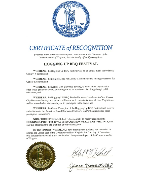 Hogging Up festival Governor Proclamation