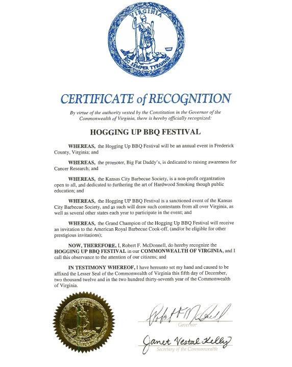 Hogging Up festival Governor Proclamation